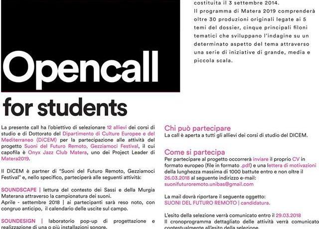 CALL FOR STUDENTS - SUONI DEL FUTURO REMOTO