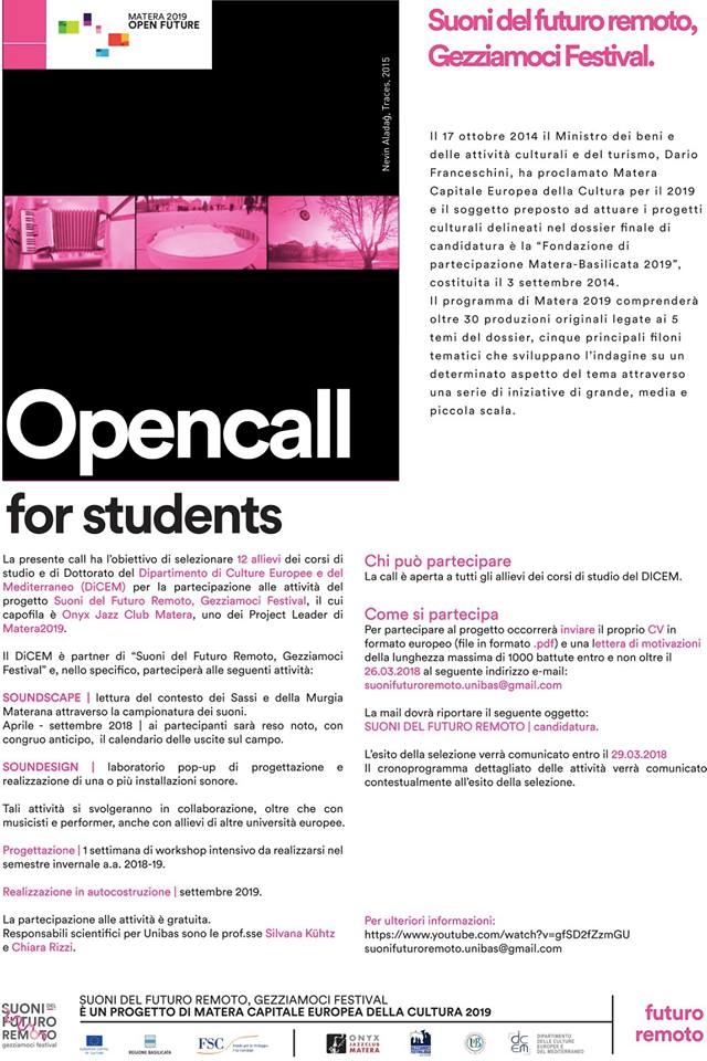CALL FOR STUDENTS - SUONI DEL FUTURO REMOTO